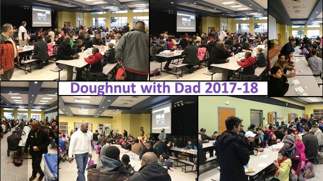 Montage of dads with kids in our cafeteria